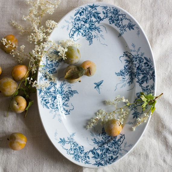 Antique French Wisteria Serving Platter