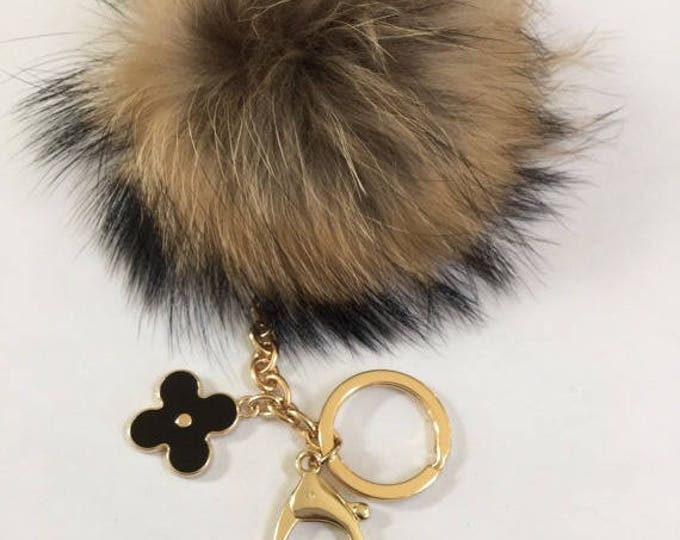 Fur pom pom keychain, bag pendant with flower clover charm natural no dye color tone