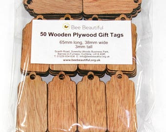 50 x Wooden Plywood Gift / Name Tags / Luggage tags