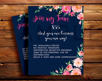 LipSense Marketing Join My Team Sheet | Custom Navy Watercolor Florals | 5x7 & 8x10 | INSTANT DOWNLOAD