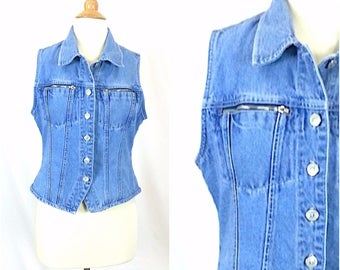 Medium Jeans Vest / vintage 90s womens clothing 100% cotton denim button up front sleeveless zippered pockets grunge punk tops collared top