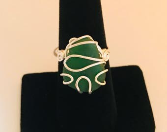 Green sea glass ring with silver wire wrap - size 8