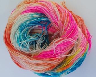 Lolli: Hand dyed superwash merino sock 4 Ply 100g