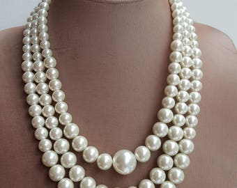 Multilayer large Pearl Statement Necklace, Chunky Bridal Necklace, 2017 trending jewelry, three strand pearl necklace, wedding necklace