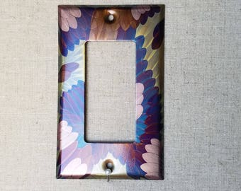 Single Rocker Switch Plate cover, flame painted copper,