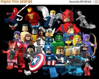 """ON SALE Counted Cross Stitch Pattern pdf chart file - Lego Marvel Superheroes - 23.64"""" x 17.93"""" - L1169"""