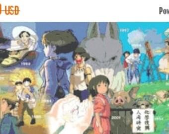 """Studio ghibli timeline Counted Cross Stitch Miyazaki Pattern pdf chart modern needlepoint - 35.43"""" x 10.79"""" - L982"""