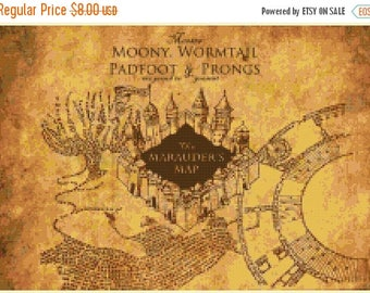 "marauder map Counted Cross Stitch Harry Potter Pattern modern cross stitch, needlepoint - 15.71"" x 11.14"" - L1320"