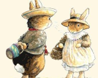 "two rabbits in love by potter - counted Cross Stitch Pattern chart pdf punto de cruz needlework - 17.79"" x 11.64""  - L1361"