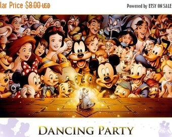 "disney dancing party Counted Cross Stitch disney pattern kreuzstitch needlepoint - 31.50"" x 19.29"" with aida 14 - L884"