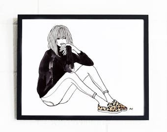 Fashion Illustration Print / Minimalist Fashion Print / Fashion Wall Art / Woman Illustration Print /Fashion Wall Decor /Minimalist Wall Art