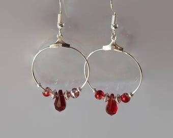Swarovski earrings, Swarovski red crystal hoop earrings, crystal earrings, swarovski crystal, swarovski hoops, crystal hoops, swarovski