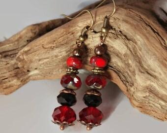 Ruby red earrings, czech glass earrings, red earrings, czech glass, goth earrings, red glass earrings, dangle earrings, beaded earrings.