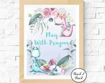 Dragon - Play With Dragons Nursery Print - Digital Download,Printable,Fairytale,Baby Decor,