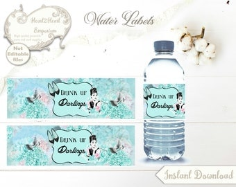 Breakfast at Tiffany's Water Bottle Labels Wrappers - Audrey Hepburn - Digital Download, Party, Drink Labels, Bridal Shower, Bottle Labels