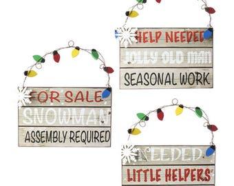 "RAZ IMPORTS 10"" North Pole Village Message Sign's- Set of 3/Wreath Supplies/3616362"