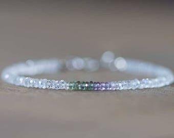 Moonstone Bracelet with Green & Purple Sapphire, Delicate June Gemstone Bracelet, Rainbow Moonstone Jewelry, Sterling Silver Rose Gold Fill