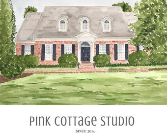 Watercolor home portrait, House drawing, Gift for client, Personalized housewarming gift, Realtor closing gift, custom house portrait