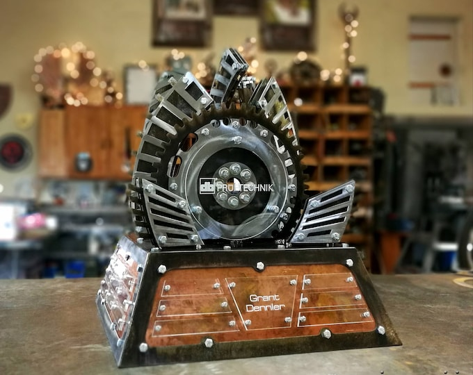 Large Custom Metal Trophy Perpetual Award Fabricated Steel with Polished Metal Accents