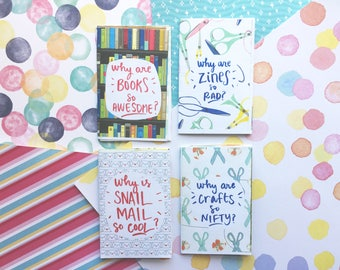 The Pillars of the Paper Trail Diary zines: Books, Zines, Snail Mail, and Crafts