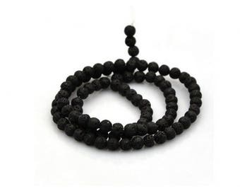 50 6mm round black lava beads