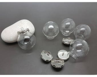 Glass globes 5 25mm and 5 Silver caps