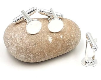 10 cabochons 10mm silver plate cuff links