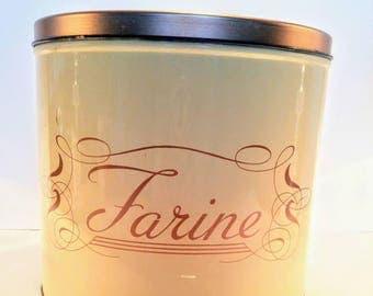 """French tin flour canister. """"Fairne"""". Vintage tin flour canister.   Vintage kitchen storage. Shabby chic."""