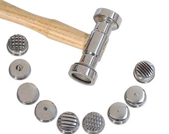 "10-1/2"" 9-in-1 Interchangeable Texturing Hammer Metal Forming Jewelry Pattern Making Hammer - HAM-0039"