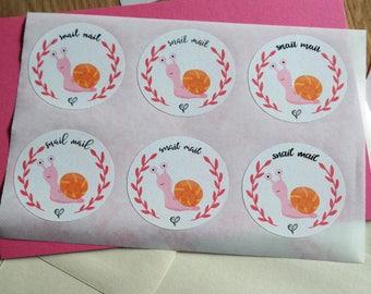 Snail mail (orange) - 12 stickers