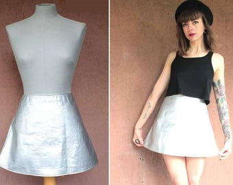 Vintage Courreges Iconic Silver A-Line Skirt - Courrège Zipped Metllic skirt - Size S
