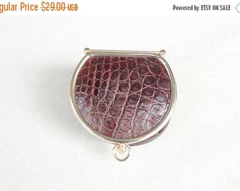 SUMMER SALE 1960's Brown Exotic Leather Coin Purse