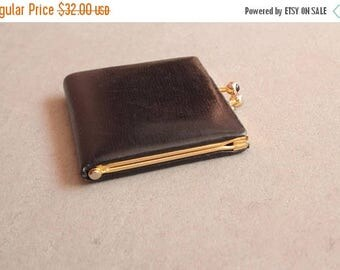 SUMMER SALE 1960's Small Change Wallet - 60's Black Leather Accordeon Wallet