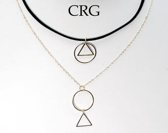 Gold Plated Geometric Shape Pendant on Black Suede/Chain Layer Choker (CM12)