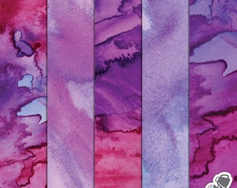 Watercolor Digital Paper - pink and purple watercolor texture - watercolor background for scrapbooking and web design - commercial use