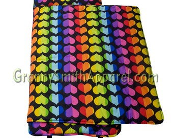 Rainbow hearts rest nap mat with pillow + blanket attached. Toddler Preschool or Daycare napmat roll. Sleeping bag for girls. PERSONALIZED