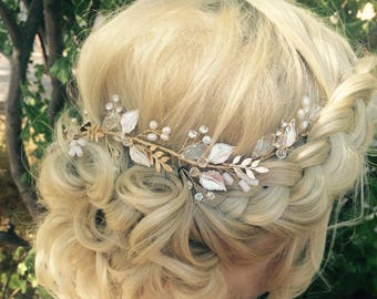 Silver Hair Vine, Bridal Leaf Hair Vine, Wedding Hair Accessory, Bridal Wreath Accessory, Rhinestones  Hair Crown