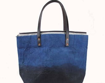 Large Waxed Cotton Canvas Tote Bag w/Liner - Blue/Brown - Leather Handles
