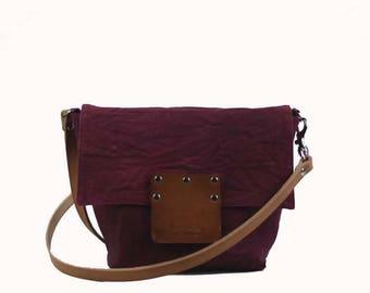 Small Waxed Canvas Crossbody - Burgundy - Leather Strap