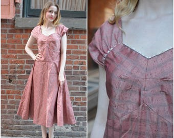 ON SALE Dusty Rose dress | vintage 1940s dress | dusty rose pink 40s dress
