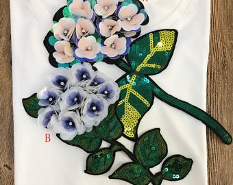2 pcs  pink purple flower sequins  embroidered clothes dress sweaters outerwears  appliques patches M43F95 free ship