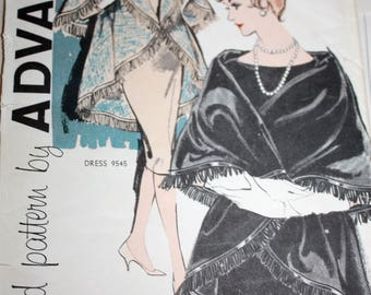 Elegant Vintage Cape Pattern---Advance 9717--- Size Medium (14-16)  UNCUT