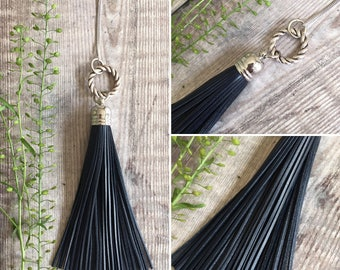 Dark Navy Blue Long Leather Tassel Necklace
