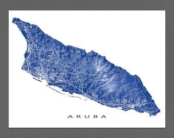 Aruba Map Print, Map Art Poster, Caribbean Island Maps