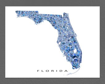 Florida Map Print, Florida State Art, FL Wall Decor