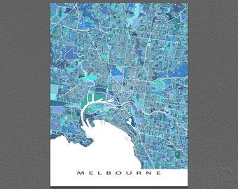 Melbourne Map Print, Melbourne Australia, City Art Poster