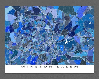 Winston-Salem Map Print, North Carolina City Map Art