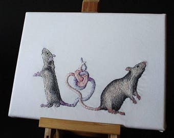 Hand Embroidered Rat King on Canvas
