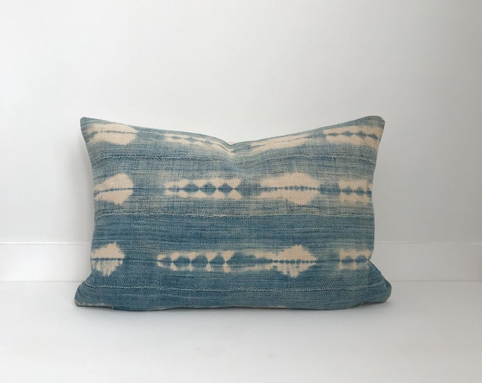 Indigo Boho Pillow, Cover, Ethnic, Vintage, Blue, Lumbar