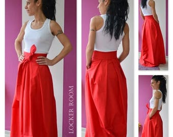 ON SALE High Wast skirt / Red Spring skirt / Woman maxi skirt / Red Woman long skirt / Long maxirock skirt
